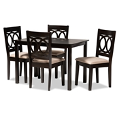 Baxton Studio Lenoir Modern and Contemporary Sand Fabric Upholstered Espresso Brown Finished Wood 5-Piece Dining Set Baxton Studio restaurant furniture, hotel furniture, commercial furniture, wholesale dining room furniture, wholesale dining sets, classic dining sets