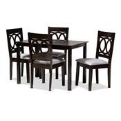 Baxton Studio Lenoir Modern and Contemporary Gray Fabric Upholstered Espresso Brown Finished Wood 5-Piece Dining Set Baxton Studio restaurant furniture, hotel furniture, commercial furniture, wholesale dining room furniture, wholesale dining sets, classic dining sets