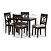Baxton Studio Lenoir Modern and Contemporary Gray Fabric Upholstered Espresso Brown Finished Wood 5-Piece Dining Set - RH315C-Grey/Dark Brown-5PC Dining Set