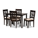 Baxton Studio Caron Modern and Contemporary Sand Fabric Upholstered Espresso Brown Finished Wood 5-Piece Dining Set - RH317C-Sand/Dark Brown-5PC Dining Set