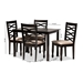 Baxton Studio Lanier Modern and Contemporary Sand Fabric Upholstered Espresso Brown Finished Wood 5-Piece Dining Set - RH318C-Sand/Dark Brown-5PC Dining Set