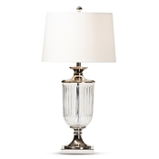 Baxton Studio Violeta Modern and Contemporary Clear Glass and Silver Metal Urn Table Lamp Baxton Studio restaurant furniture, hotel furniture, commercial furniture, wholesale lighting, wholesale Table Lamps, classic Table Lamps