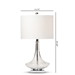 Baxton Studio Noa Modern and Contemporary Clear Glass and Silver Metal Teardrop Table Lamp - TGCL0013