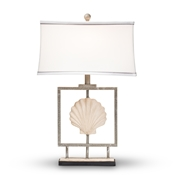 Baxton Studio Treasa Modern and Contemporary Antique Silver Metal Framed Seashell Table Lamp Baxton Studio restaurant furniture, hotel furniture, commercial furniture, wholesale lighting, wholesale Table Lamps, classic Table Lamps