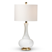 Baxton Studio Clementina Modern and Contemporary White Glass and Gold Finished Metal Teardrop Table Lamp Baxton Studio restaurant furniture, hotel furniture, commercial furniture, wholesale lighting, wholesale Table Lamps, classic Table Lamps