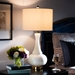 Baxton Studio Clementina Modern and Contemporary White Glass and Gold Finished Metal Teardrop Table Lamp - TGW0008