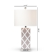 Baxton Studio Selia Modern and Contemporary Gray and White Diamond Patterned Ceramic Table Lamp - TCGR0002