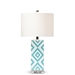 Baxton Studio Rowen Modern and Contemporary Turquoise and White Diamond Patterned Ceramic Table Lamp - TCBL0009