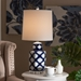 Baxton Studio Tierney Modern and Contemporary Dark Blue and White Quatrefoil Patterned Ceramic Table Lamp - TCBL0022