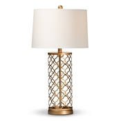 Baxton Studio Nelma Modern and Contemporary Gold Finished Metal Quatrefoil Cage Table Lamp Baxton Studio restaurant furniture, hotel furniture, commercial furniture, wholesale lighting, wholesale Table Lamps, classic Table Lamps