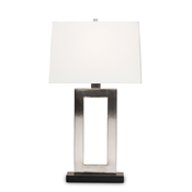 Baxton Studio Serre Modern and Contemporary Silver Metal Rectangular Cut-Out Table Lamp Baxton Studio restaurant furniture, hotel furniture, commercial furniture, wholesale lighting, wholesale Table Lamps, classic Table Lamps
