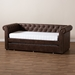 Baxton Studio Mabelle Modern and Contemporary Brown Faux Leather Upholstered Daybed with Trundle - Ashley-Brown-Daybed