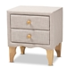 Baxton Studio Artis Modern and Contemporary Beige Fabric Upholstered 2-Drawer Wood Nightstand