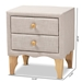 Baxton Studio Artis Modern and Contemporary Beige Fabric Upholstered 2-Drawer Wood Nightstand - BBT3154-Beige-NS