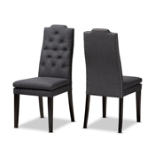 Baxton Studio Dylin Modern and Contemporary Charcoal Fabric Upholstered Button Tufted Wood Dining Chair Set of 2 Baxton Studio restaurant furniture, hotel furniture, commercial furniture, wholesale dining room furniture, wholesale dining chairs, classic dining chairs