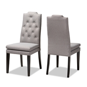 Baxton Studio Dylin Modern and ContemporaryGray Fabric Upholstered Button Tufted Wood Dining Chair Set of 2 Baxton Studio restaurant furniture, hotel furniture, commercial furniture, wholesale dining room furniture, wholesale dining chairs, classic dining chairs