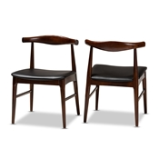 Baxton Studio Eira Mid-Century Modern Black Faux Leather Upholstered Walnut Finished Wood Dining Chair Set of 2 Baxton Studio restaurant furniture, hotel furniture, commercial furniture, wholesale dining room furniture, wholesale dining chairs, classic dining chairs