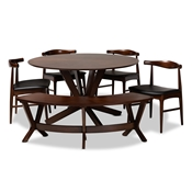 Baxton Studio Berlin Mid-Century Modern Black Faux Leather Upholstered Walnut Finished 6-Piece Wood Dining Set Baxton Studio restaurant furniture, hotel furniture, commercial furniture, wholesale dining room furniture, wholesale dining sets, classic dining sets