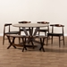 Baxton Studio Berlin Mid-Century Modern Black Faux Leather Upholstered Walnut Finished 6-Piece Wood Dining Set - Berlin-Black/Walnut-6PC Dining Set