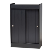 Baxton Studio Leone Modern and Contemporary Charcoal Finished 2-Door Wood Entryway Shoe Storage Cabinet