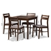 Baxton Studio Lovy Modern and Contemporary Gray Fabric Upholstered Dark Walnut-Finished 5-Piece Wood Dining Set - Lovy Dining Set-Grey/Dark Walnut