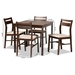 Baxton Studio Lovy Modern and Contemporary Beige Fabric Upholstered Dark Walnut-Finished 5-Piece Wood Dining Set - Lovy Dining Set-Beige/Dark Walnut