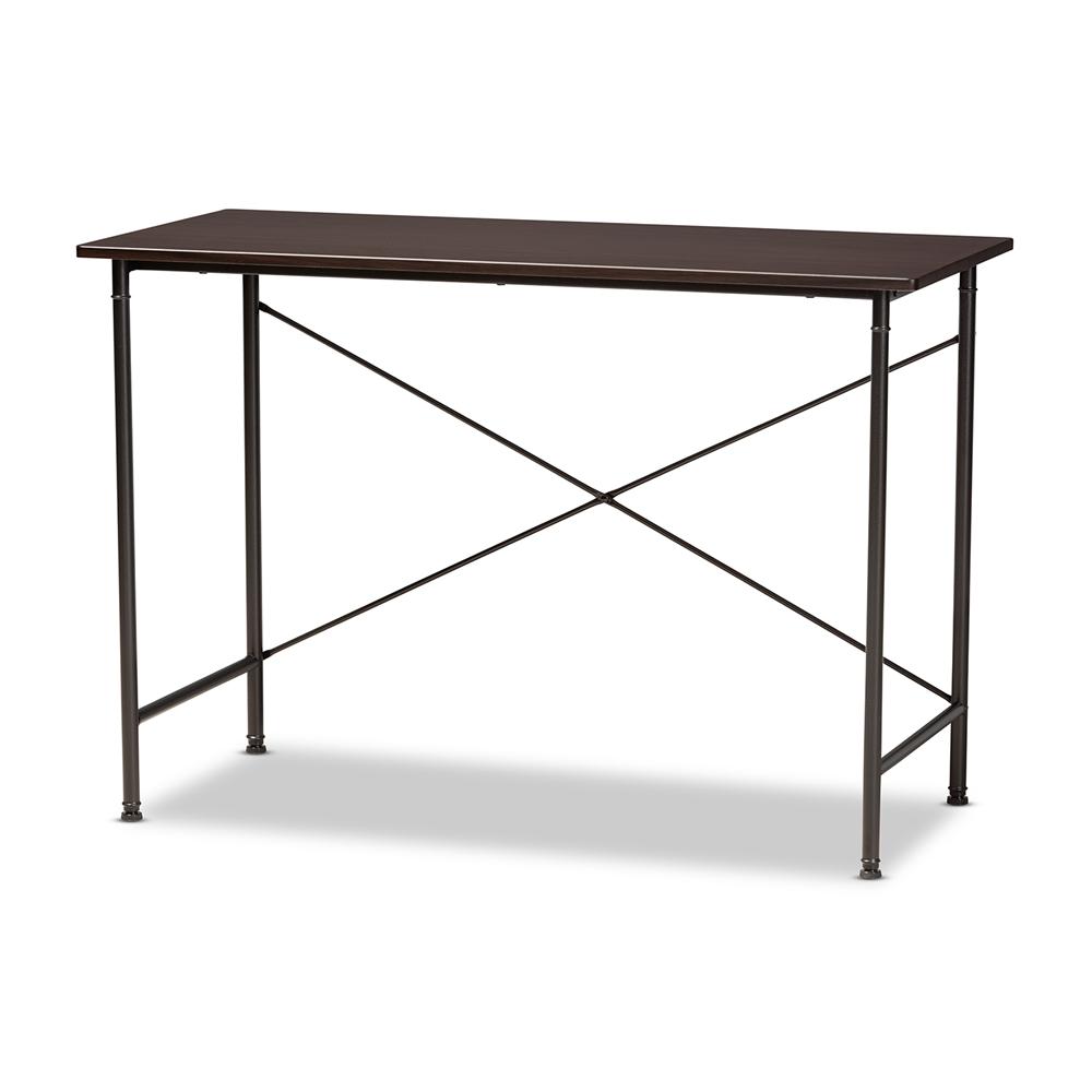 Baxton Studio Tavin Industrial Espresso Wood and Black Metal Criss-Cross Desk