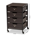 Baxton Studio Felix Modern and Contemporary Espresso Wood and Black Metal 4-Drawer Mobile File Cabinet - BG1708A-Dark Brown