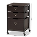 Baxton Studio Felix Modern and Contemporary Espresso Wood and Black Metal 3-Drawer Mobile File Cabinet - BG1708B-Dark Brown