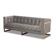 Baxton Studio Ambra Glam and Luxe Grey Velvet Fabric Upholstered and Button Tufted Sofa with Gold-Tone Frame