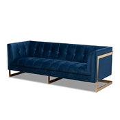 Baxton Studio Ambra Glam and Luxe Navy Blue Velvet Fabric Upholstered and Button Tufted Gold Sofa with Gold-Tone Frame