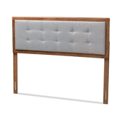 Baxton Studio Sarine Mid-Century Modern Light Grey Fabric Upholstered Walnut Brown Finished Wood Full Size Headboard