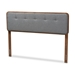 Baxton Studio Palina Mid-Century Modern Dark Grey Fabric Upholstered Walnut Brown Finished Wood Queen Size Headboard