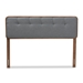 Baxton Studio Palina Mid-Century Modern Dark Grey Fabric Upholstered Walnut Brown Finished Wood Queen Size Headboard - MG3000PC-Dark Grey/Ash Walnut-HB-Queen