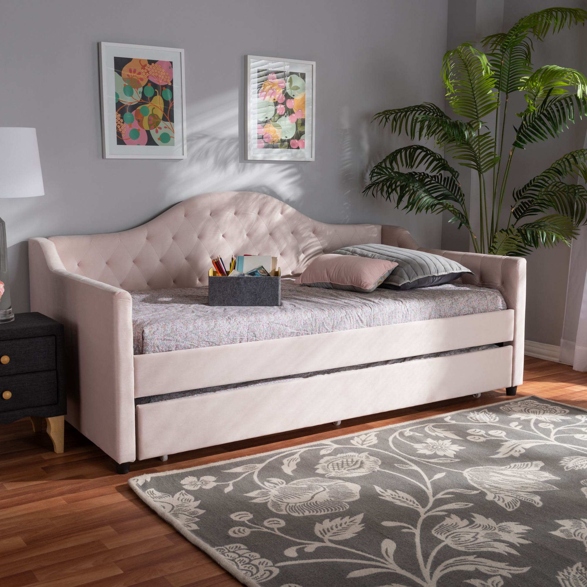 Perry Modern Pink Velvet Tufted Sofa Daybed Frame with Pull-Out Guest  Trundle