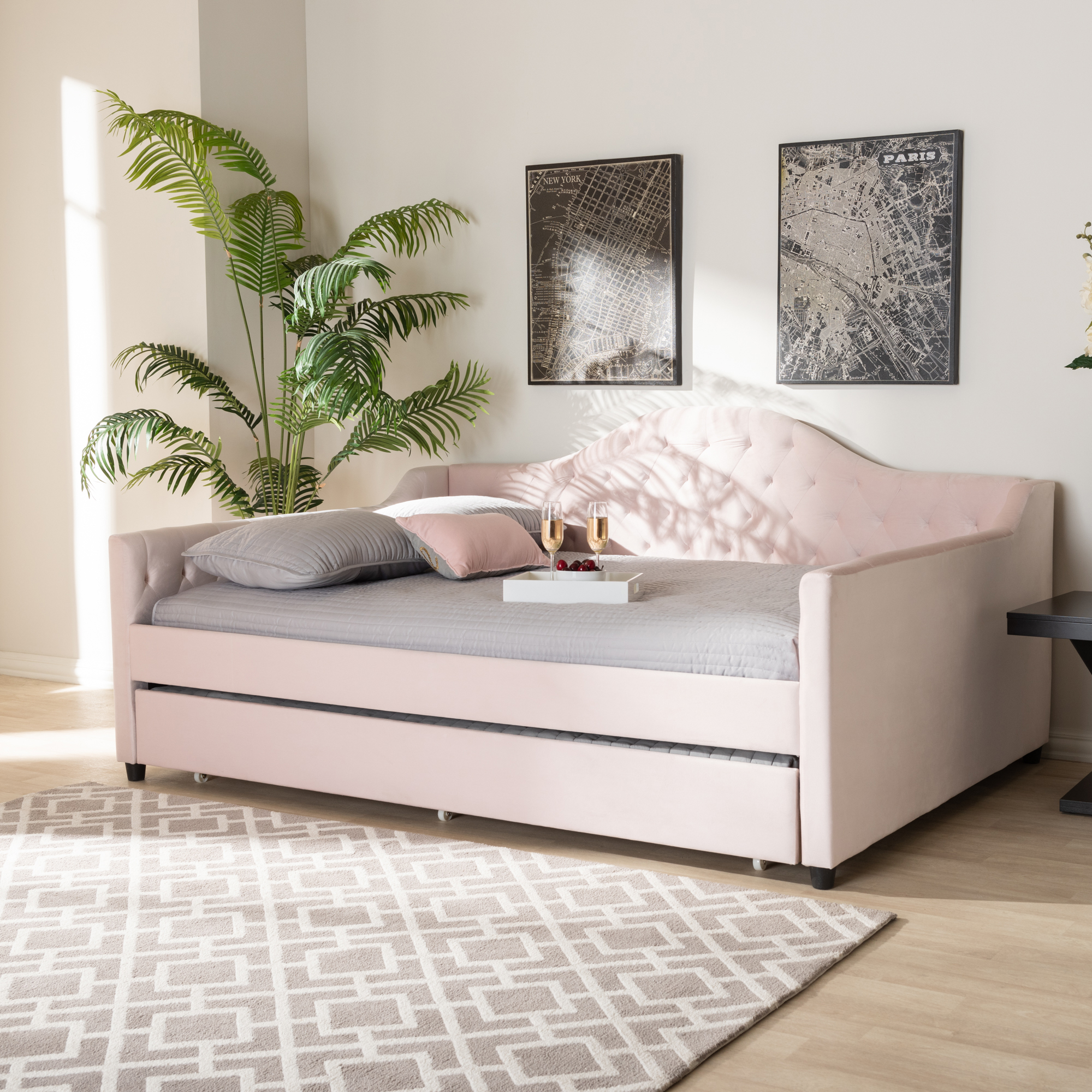 Perry Modern Pink Velvet Tufted Sofa Daybed Frame with ...