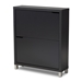 Baxton Studio Simms Modern and contemporary Dark Grey Finished Wood Shoe Storage Cabinet with 4 Fold-Out Racks - FP-2OUS-Dark Grey