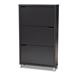 Baxton Studio Simms Modern and contemporary Dark Grey Finished Wood Shoe Storage Cabinet with 6 Fold-Out Racks - FP-3OUSH-Dark Grey