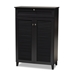 Baxton Studio Coolidge Modern and Contemporary Dark Grey Finished 5-Shelf Wood Shoe Storage Cabinet with Drawer - FP-03LV-Dark Grey