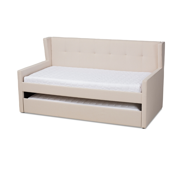 Baxton Studio Giorgia Modern and Contemporary Beige Fabric Upholstered Twin Size Daybed with Trundle