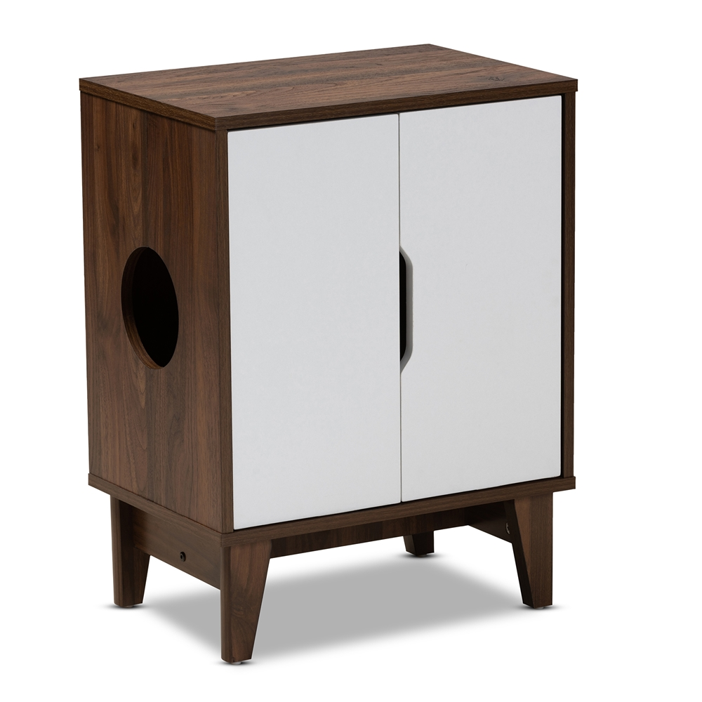 Baxton Studio Romy Mid-Century Modern Two-Tone Walnut Brown and White Finished 2-Door Wood Cat Litter Box Cover House
