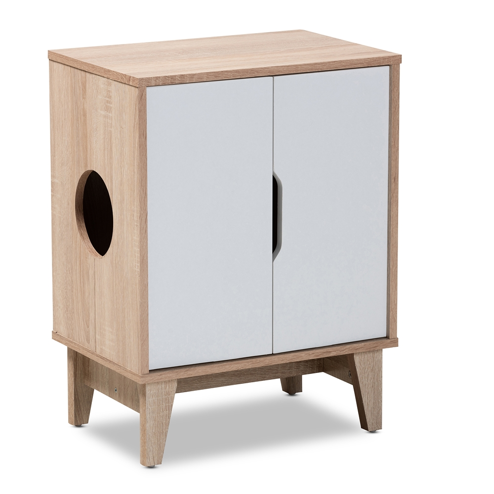 Baxton Studio Romy Mid-Century Modern Two-Tone Oak and White Finished 2-Door Wood Cat Litter Box Cover House