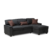 Baxton Studio Emile Modern and Contemporary Dark Grey Fabric Upholstered Right Facing Storage Sectional Sofa with Pull-Out Bed