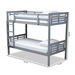 Baxton Studio Liam Modern and Contemporary Grey Finished Wood Twin Size Bunk Bed - MG0048-Grey-Twin Bunk Bed