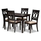 Baxton Studio Lucie Modern and Contemporary Sand Fabric Upholstered Espresso Brown Finished 5-Piece Wood Dining Set Baxton Studio restaurant furniture, hotel furniture, commercial furniture, wholesale dining room furniture, wholesale dining sets, classic dining sets