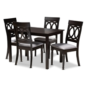Baxton Studio Lucie Modern and Contemporary Grey Fabric Upholstered Espresso Brown Finished 5-Piece Wood Dining Set Baxton Studio restaurant furniture, hotel furniture, commercial furniture, wholesale dining room furniture, wholesale dining sets, classic dining sets
