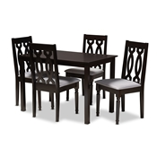 Baxton Studio Cherese Modern and Contemporary Grey Fabric Upholstered Espresso Brown Finished 5-Piece Wood Dining Set Baxton Studio restaurant furniture, hotel furniture, commercial furniture, wholesale dining room furniture, wholesale dining sets, classic dining sets