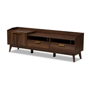 Baxton Studio Lena Mid-Century Modern Walnut Brown Finished 2-Drawer Wood TV Stand