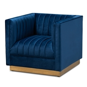 Baxton Studio Aveline Glam and Luxe Navy Blue Velvet Fabric Upholstered Brushed Gold Finished Armchair Baxton Studio restaurant furniture, hotel furniture, commercial furniture, wholesale living room  furniture, wholesale chair, classic chair
