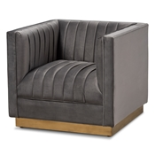 Baxton Studio Aveline Glam and Luxe Grey Velvet Fabric Upholstered Brushed Gold Finished Armchair Baxton Studio restaurant furniture, hotel furniture, commercial furniture, wholesale living room  furniture, wholesale chair, classic chair